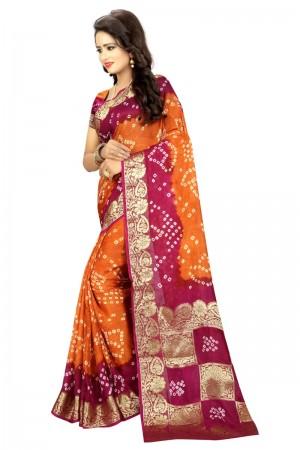 Astounding Cotton Silk Pink and Mustard Bandhej Women's Bandhani Saree