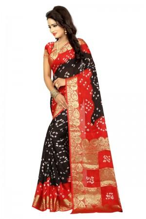 Divine Cotton Silk Red and Black Bandhej Women's Bandhani Saree