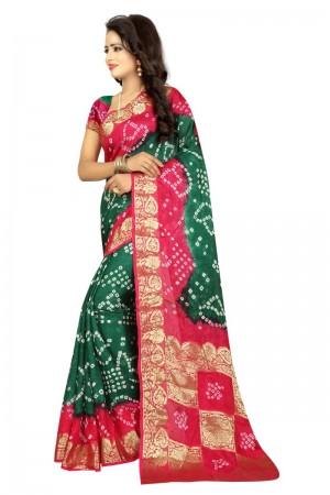 Classic Cotton Silk Pink and Rama Bandhej Women's Bandhani Saree