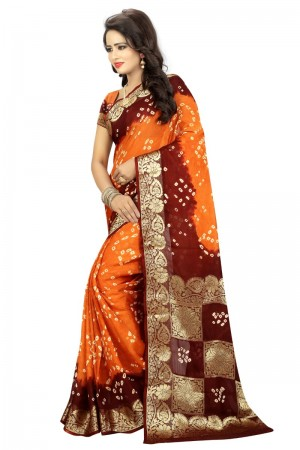 Classy Cotton Silk Maroon and Mustard Bandhej Women's Bandhani Saree