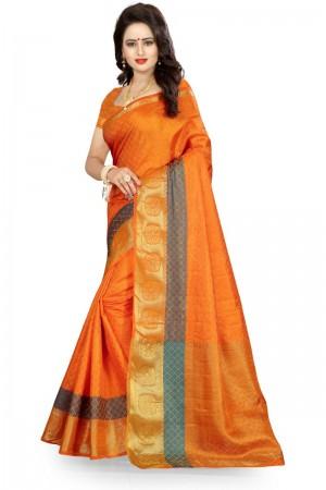 Designer Banarasi Orange Color jacquard Women's Saree