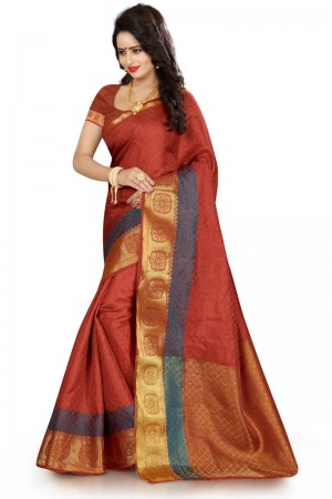 Beguiling Banarasi Maroon Color jacquard Women's Saree