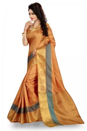 Alluring Banarasi Chiku Color jacquard Women's Saree