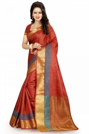Majestic Banarasi Maroon Color jacquard Women's Saree