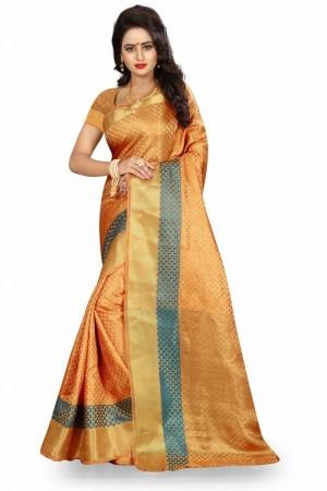 Glossy Banarasi Chiku Color jacquard Women's Saree