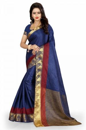 Beauteous Banarasi Blue Color jacquard Women's Saree