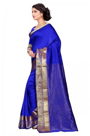 Breezy Cotton Blue Color jacquard Women's Saree