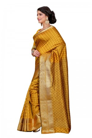 Dazzling Cotton Yellow Color jacquard Women's Saree