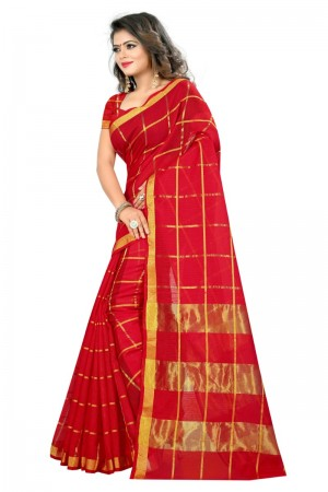 Eye catching Cotton Red Color jacquard Women's Saree