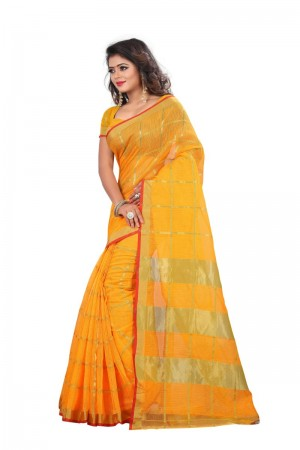 Tremendous Cotton Yellow Color jacquard Women's Saree