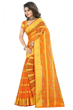 Immaculate Latest Women thnic Orange Color Manipuri Coton Silk Banarasi Saree