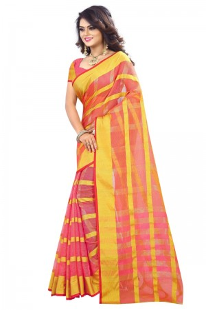 Blooming Latest Women thnic Piech Color Manipuri Coton Silk Banarasi Saree