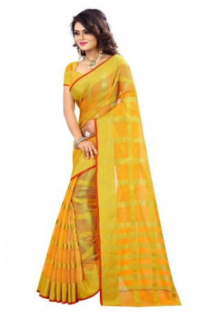 Definitive Latest Women thnic Yellow Color Manipuri Coton Silk Banarasi Saree