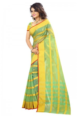 Enigmatic Latest Women thnic Pista Color Manipuri Coton Silk Banarasi Saree