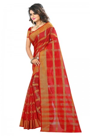 Affluent Latest Women thnic Red Color Manipuri Coton Silk Banarasi Saree