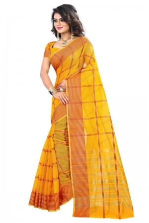 Brilliant Latest Women thnic Yellow Color Manipuri Coton Silk Banarasi Saree