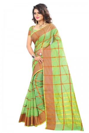 Creative Latest Women thnic Pista Color Manipuri Coton Silk Banarasi Saree