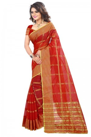 Enticing Latest Women thnic Red Color Manipuri Coton Silk Banarasi Saree