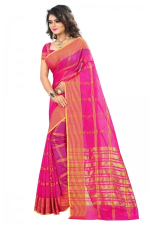Striking Latest Women thnic Pink Color Manipuri Coton Silk Banarasi Saree