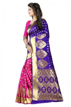 Mesmerising Latest Women thnic  Blue Pink Color Manipuri Coton Silk Banarasi Saree