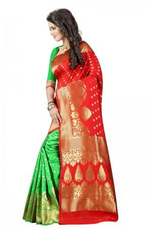 Lovely Latest Women thnic Red Green Color Manipuri Coton Silk Banarasi Saree