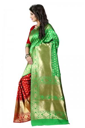 Mod Latest Women thnic Green Red Color Manipuri Coton Silk Banarasi Saree
