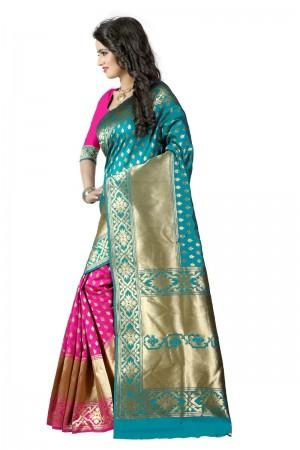 Enriching Latest Women thnic Rama Pink Color Manipuri Coton Silk Banarasi Saree