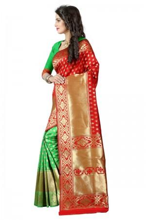 Fantastic Latest Women thnic Red Green Color Manipuri Coton Silk Banarasi Saree