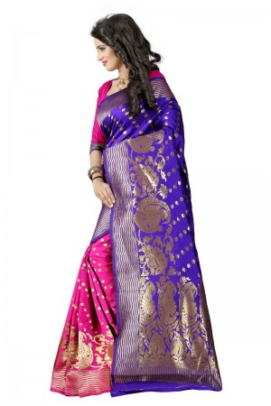 Glossy Latest Women thnic  Blue Pink Color Manipuri Coton Silk Banarasi Saree