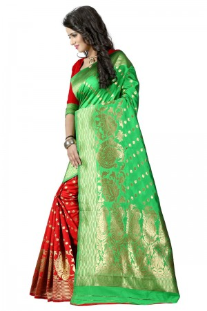 Sensuous Latest Women thnic Green Red Color Manipuri Coton Silk Banarasi Saree