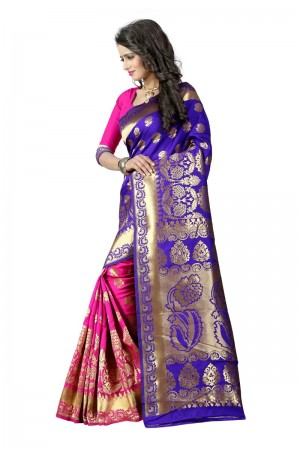 Dashing Latest Women thnic  Blue Pink Color Manipuri Coton Silk Banarasi Saree