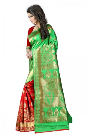 Breezy Latest Women thnic Green Red Color Manipuri Coton Silk Banarasi Saree