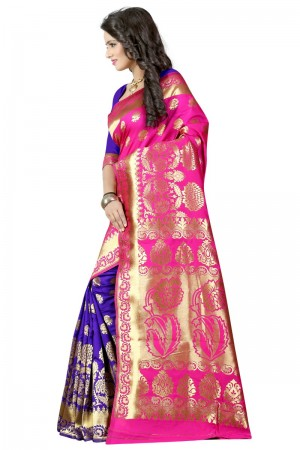 Trendy Latest Women thnic Pink Blue Color Manipuri Coton Silk Banarasi Saree