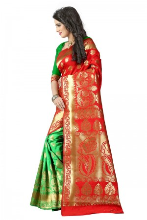 Charming Latest Women thnic Red Green Color Manipuri Coton Silk Banarasi Saree