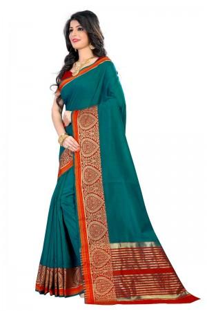Stupendous Latest Women ethnic Rama Color Coton Banarasi Saree