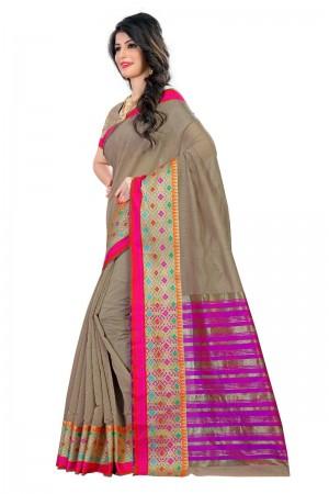 Mind Blowing Latest Women thnic Chiku Color Coton Banarasi Saree