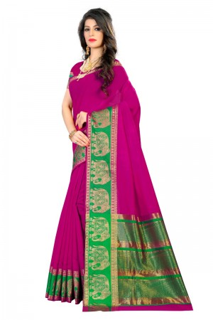 Marvelous Latest Women thnic Pink Color Coton Banarasi Saree
