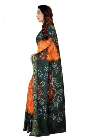 Impressive Cotton Silk Rama & Mustard Bandhej Women's Bandhani Saree
