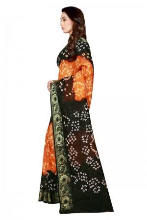 Fab Cotton Silk Black & Mustard Bandhej Women's Bandhani Saree