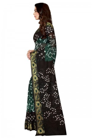 Bewitching Cotton Silk Black & Light Green Bandhej Women's Bandhani Saree