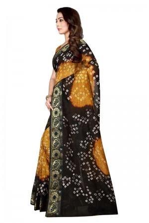 Picturesque Cotton Silk Black & Mustard Bandhej Women's Bandhani Saree
