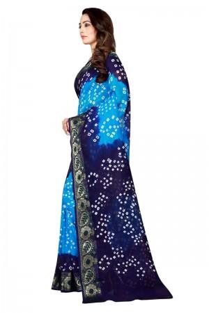 Refreshing Cotton Silk Blue & Firozi Bandhej Women's Bandhani Saree