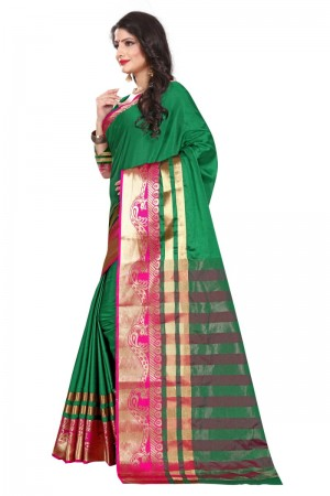 Modish Cotton Silk GREEN & PINK Bandhej Women's Bandhani Saree