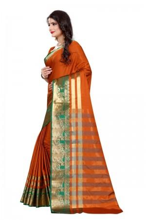 Bedazzling Cotton Silk MUSTARD  & GREEN Bandhej Women's Bandhani Saree