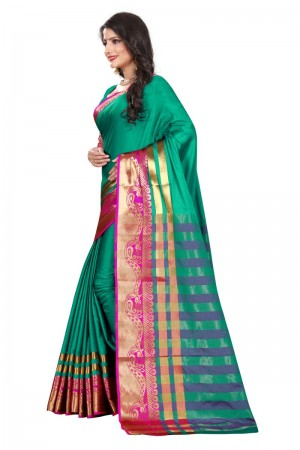 Gorgeous Cotton Silk RAMA & PINK Bandhej Women's Bandhani Saree