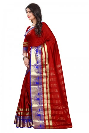 Splendiferous Cotton Silk RED & BLUE Bandhej Women's Bandhani Saree