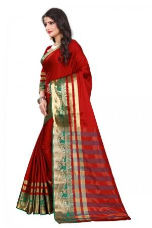 Voguish Cotton Silk RED & GREEN Bandhej Women's Bandhani Saree
