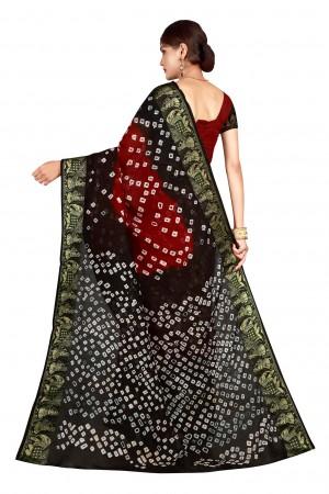 Stupendous Black & Red Cotton Silk Bandhani Saree