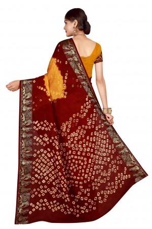 Vibrant Maroon & Rust Cotton Silk Bandhani Saree