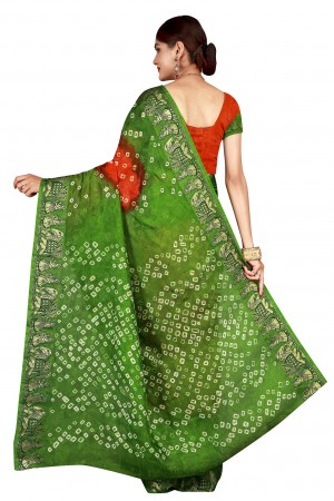 Pleasant Parot & Fenta Cotton Silk Bandhani Saree